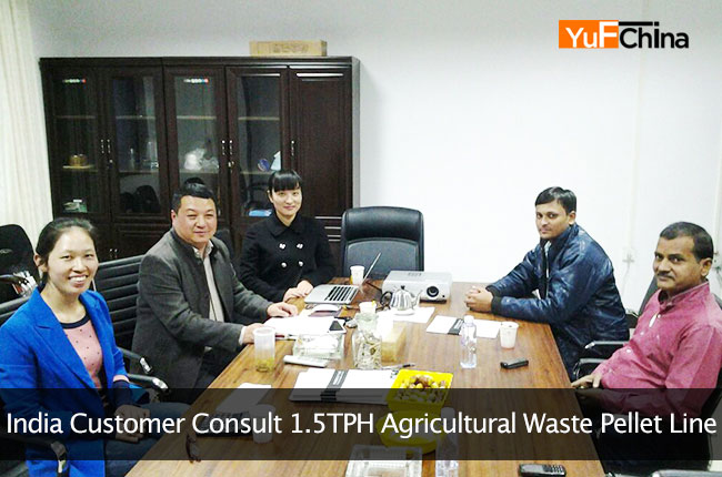India Customer Consult 1.5TPH Agricultural Waste Pellet Line